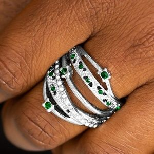 Silver Ring with Green & White Rhinestones
